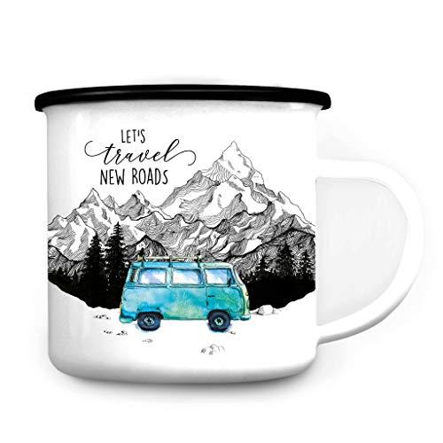 Wandtattoo Loft Emaille Campingbecher Let´s travel New Roads Bus Bulli Berge/schwarzer Becherrand