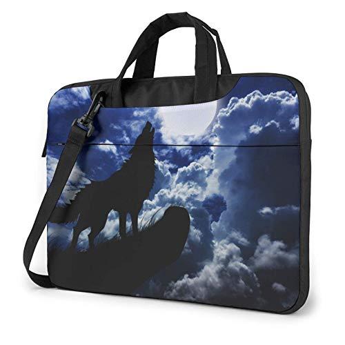 Laptop Shoulder Bag,Night Wolf Shockproof Laptop Sleeve Cover Business Messenger Bag Briefcase Handbag Case 15.6 inch