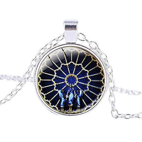UINGKID Kette Damen Halskette Schmuck Anhänger Ausverkauf Rosen-Fenster Glasmalerei de Paris Kathedrale Anhänger-Halskette