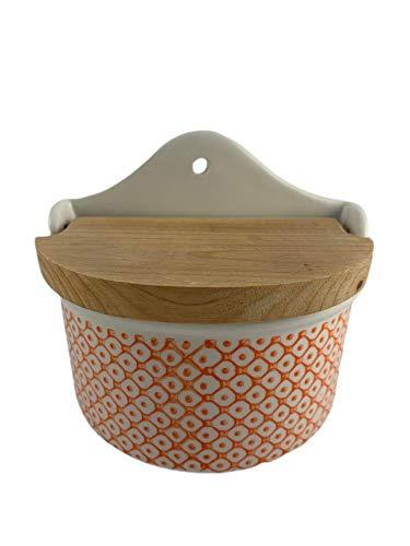 DataPrice Salero de Cocina, Recipiente para Sal de Cerámica con Tapa de Madera - Blanco y Naranja - 11x10 cm