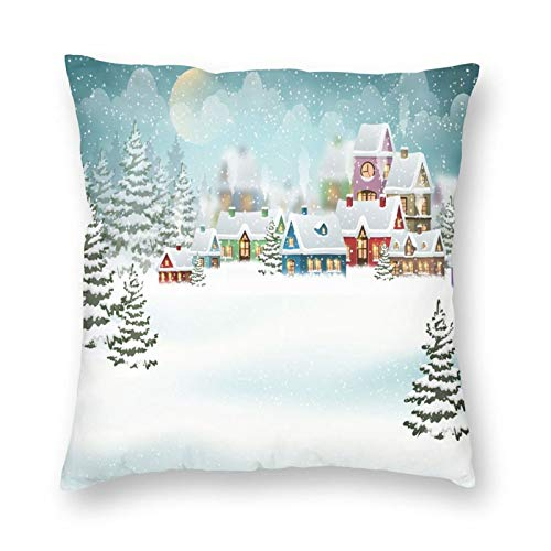 Decorative Cushion Covers with Village Under Snow Winter Holiday Season Pine Forest,for Sofa Office Decor Cotton and Linen Cushion Covers 24*24Inch