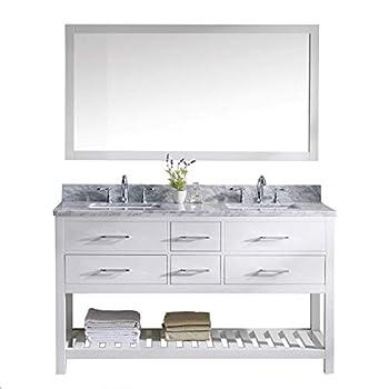 Virtu USA Caroline Estate 60 inch Double Sink Bathroom Vanity Set in White w/Square Undermount Sink Italian Carrara White Marble Countertop No Faucet 1 Mirror - MD-2260-WMSQ-WH-010