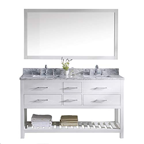 Virtu USA Caroline Estate 60 inch Double Sink Bathroom Vanity Set in White w/Square Undermount Sink, Italian Carrara White Marble Countertop, No Faucet, 1 Mirror - MD-2260-WMSQ-WH-010