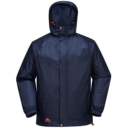 Cox Swain Herren Regenjacke NEVES - mit Kapuze, super leicht!, Colour: Navy/Orange Zipper, Size: XL