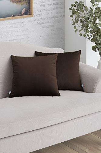 Easycosy - Pack Funda de Cojín Decorativo Luxury para Sofá - 45x45 - Tejido Terciopelo - Ideal para Decorar su sofá - Color Marrón.