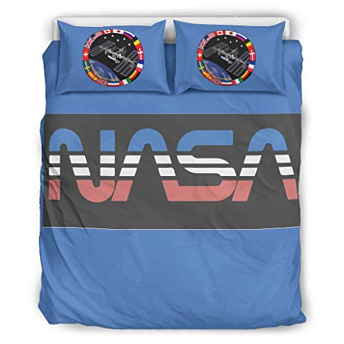 O5KFD & 8 NASA-logo dagdeken set Hotel Luxury 3-delig dekbedovertrek - NASA Comfortabele Boho beddengoedsets