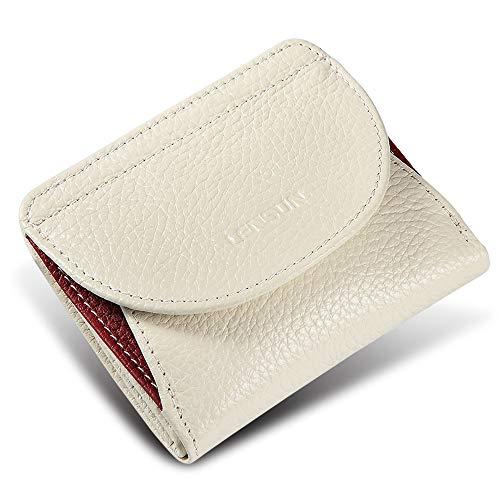 LENSUN Geldbörse Mini Damen Echtes Leder Portemonnaie mit Münzfach Kartenfächer Klein Frauen Geldbeutel Brieftasche – Weiß (LS-HB-WE)