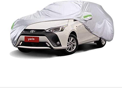 ZGYQGOO Komplett wasserdichte Autoabdeckung für alle Jahreszeiten. Für Toyota Yali Modelle. Atmungsaktiv. Mit Baumwolle gefüttert. Robust. Silber