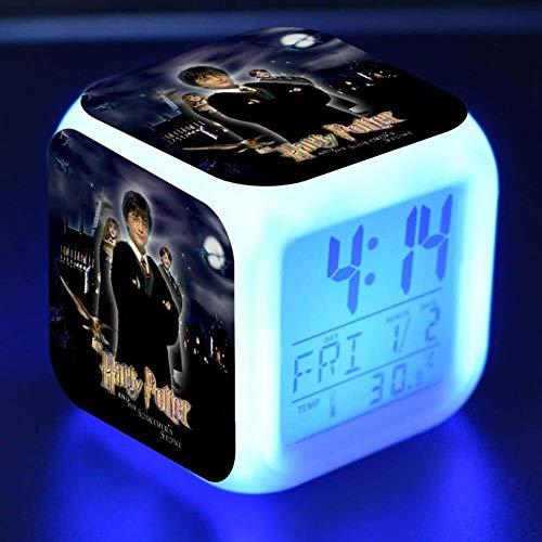 Harry potter sveglia digitale bambino cartone animato sveglia comodino luce notturna musica sveglia scrivania muta regali per bambini ragazzo ragazza adolescente luci colorate ricarica USB (04)-06