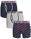 Lucky Brand Mens Lightweight Cotton Stretch Boxer Briefs Underwear (3 Pack), Size Large, Grey/Blue/Stars