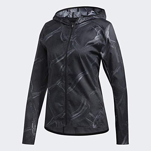 adidas Damen Own The Run JKT Weste, Gritre/Kohlenstoff/Schwarz, XS