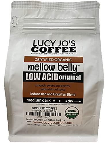 Lucy Jo's Coffee, Organic Mellow Belly Low Acid Blend, Ground, 11 oz (11 OZ)