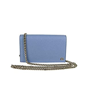Fashion Shopping Gucci Women's 100 Light Blue Leather Chain Wallet Handbag W/Interlocking G Charm 420023
