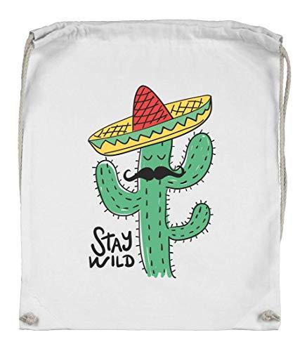 Druckerlebnis24 Turnbeutel - Stay Wild Kaktus Hut - Stoffbeutel aus Bio Baumwolle