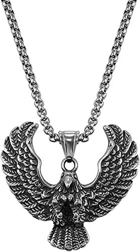 ZPPYMXGZ Co.,ltd Necklace Fashion New Stainless Steel Gothic Horn Evil Devil Demon Skull Pendant Necklace Eagle Hip Hop Necklace Punk Halloween Jewelry for Men 30th