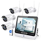 【8CH Expandable】 All in One with 12' LCD Monitor 1080P Wireless Security Camera System 2TB Hard Drive, SMONET Indoor Outdoor Home Business CCTV Surveillance Systems,4pcs 2.0MP Bullet IP Cameras,IP66