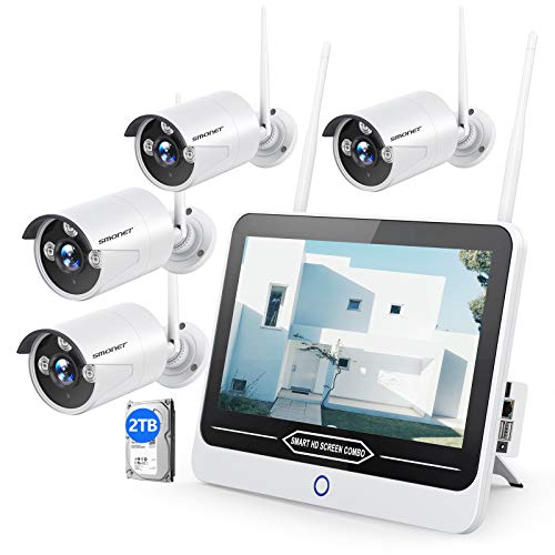 "【2TB HDD & 12INCH】 SMONET All in One with 12"" Monitor 1080P Security Camera System Wireless,8-Channel Outdoor Home Camera System,4pcs 2.0MP(1080P) Waterproof Wireless IP Camera,P2P,Free APP"