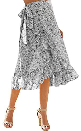 Aivtalk Falda Gasa para Mujer Volantes Asimétrico en Verano Vestido Floral Largo Ajustada para Playa Vacaciones - Blanco 01 S