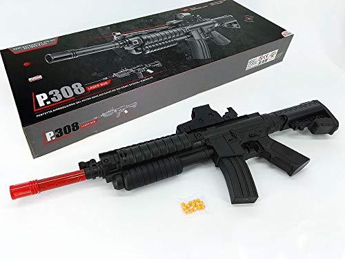 Mitra fucile MITRAGLIATRICE D'ASSALTO M16 giocattolo per bambini con PALLINI 6mm Mirino puntatore laser e colpi inclusi semi automatica idea regalo