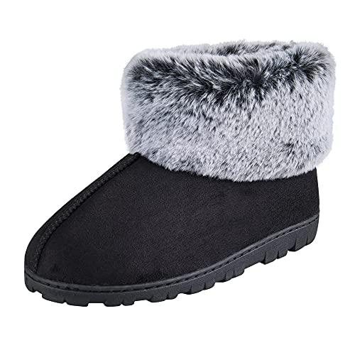 Jessica Simpson Women's and -Girls Microsuede Super Soft Bootie Slippers with Indoor Outdoor Sole, Black, Medium