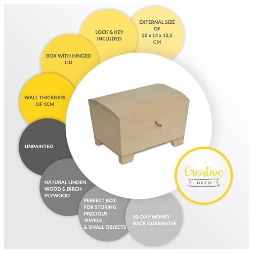 Creative Deco Große Holz-Kiste mit Deckel, Schloss und Schlüssel für Schmuck-Stücke | 20 x 14 x 12,5 cm | Abschließbare Holz-Box für kleine Gegenständen | Perfekt für Aufbewahrung und Dekoration - 5