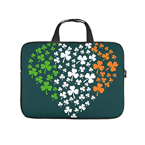 St Patrick Tag Clover Heart Double Sided Printed Laptop Sleeve Protective Case Durable Neoprene Laptop Bag Cover Funny Tablet Bag Sleeve Case for Employees Friends