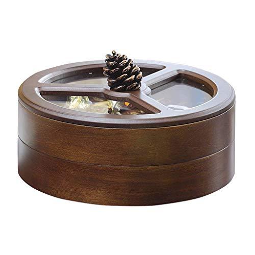 SHYPT De Doble Capa de Madera Plato de Fruta Rotación Snack-Box Tuerca Titular Sala Creativo del Compartimiento con Tapa Dried Fruit Basket