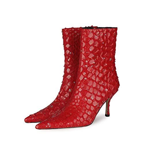 SHXITAYNB Damen-High-Heels, Winter-PU-Seitenreißverschluss-Schuhe Mit Mittlerem Absatz, Sexy Damen-Kurzstiefel (Blau, Rot, Schwarz, Beige),Rot,36