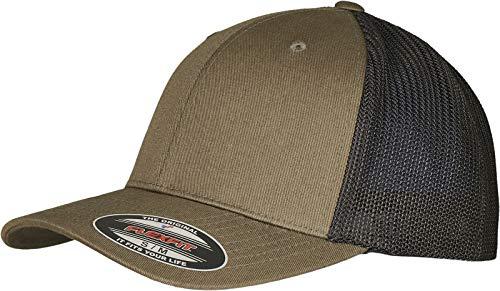 Flexfit Unisex Trucker Recycled Mesh Baseball Cap, Olive/Black, S/M
