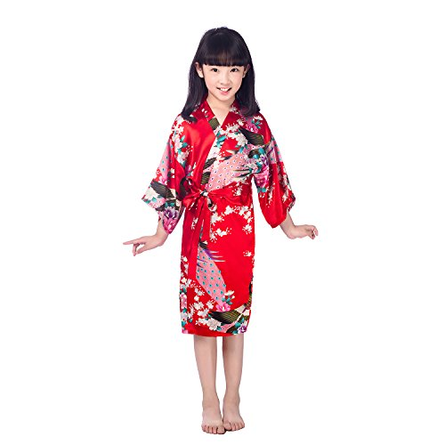 CuteOn Niños Niñas Kimono Satén de Seda Soft Blossom Peacock Albornoces Pijamas para los Niños Vestido de Novia Rojo Tamaño 12 - (Altura 130-145cm)