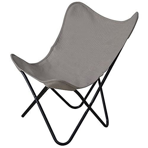 PatioPost Butterfly Chair for Adults Ergonomic High Back Butterfly Chair Frame Support 350lbs with Removable Cover Outdoor Heavy Duty Camping Chair,Grey