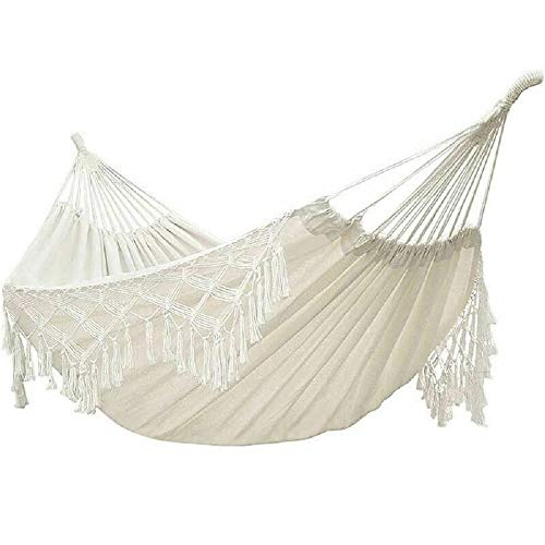 HammockBoho Hammock Large Double Deluxe Hammock Swing Bed with Carry Bag for Outdoor amp Wedding Party Decor White 787