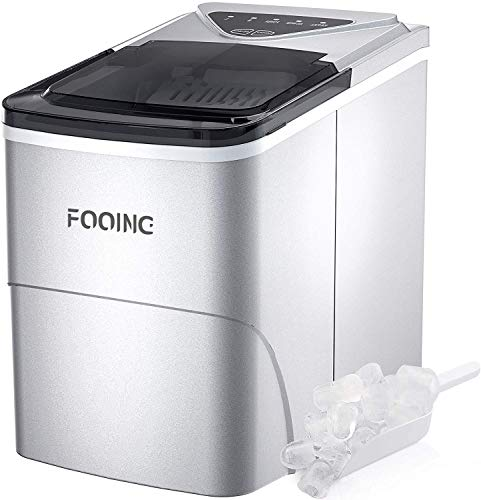 FOOING Ice Maker Countertop, Self-Cleaning Function, 26lbs 24Hrs, 9 Cubes Ready in 7mins with LED Display for Parties Mixed, Portable Ice Cube Maker with Ice Scoop and Basket (Silver)
