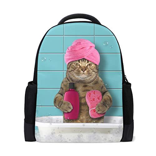 Rucksack Bookbag Daypack Badewanne Katze wasserdicht für mittlere Reise Mädchen Jungen