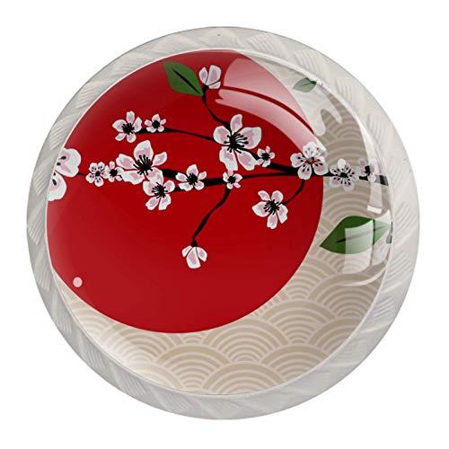 Pomos de gabinete para cajones y gabinetes de cocina (4 unidades), diseño de flores de cerezo, color rosa japonés, color rojo