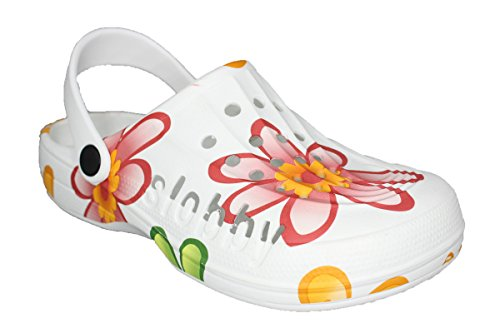 Damen Slobby Eva Clogs | Hausschuhe Gartenclogs | Beruf Pantoletten | Freizeit Sauna Badeschuhe | Fersen Komfort Riemen | Slipper Sandalen Schuhe | BA560 (41, Orange)