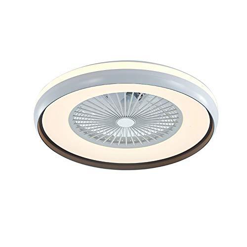 Lámpara LED de ventilador con mando a distancia, 3 colores, regulable, 60 W, moderno ventilador de techo con lámpara invisible, silencioso, para salón, comedor, dormitorio (blanco y negro)