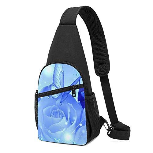 Butterflies On Roses Daypack Sling Backpack,Lightweight Shoulder Chest Backpack Sports Bag Crossbody Shoulder Bag