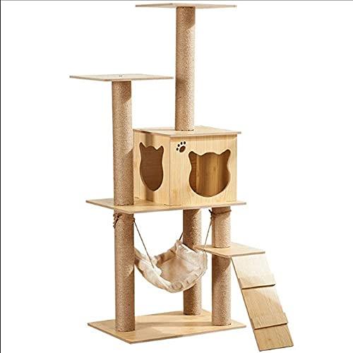 NYCUABT Katzenständer, mehrschichtiger Katzenbaum große natürliche Sisal, Kratzerpfosten, Katzenklaue-Unterstützung, mit Aussicht