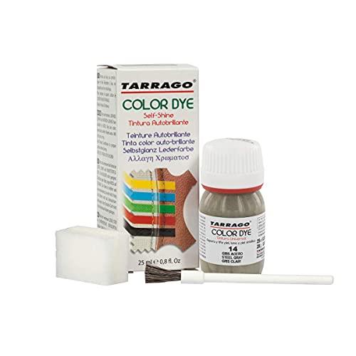 Tarrago   Colorante Colorante Self Shine 25 ml   Tintura per pelle e tela con finitura lucida per la tintura di scarpe e accessori   Asciugatura rapida per riparare le calzature (grigio acciaio 14)