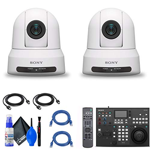 2 x Sony SRG-X400 1080p PTZ Camera with HDMI, IP & 3G-SDI Output (SRGX400/W) + Sony RM-IP500/1 Professional Remote Controller + 2 x Ethernet Cable + Cleaning Set + 2 x HDMI Cable - Bundle