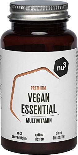 nu3 Premium Vegan Essential - 60 Kapseln - mit Vitamin B2, B12, D3, Zink, Calcium, Jod & Selen -...