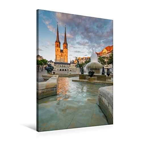 CALVENDO Premium Textil-Leinwand 60 x 90 cm Hoch-Format Sommerabend in Halle-Saale, Leinwanddruck von Martin Wasilewski