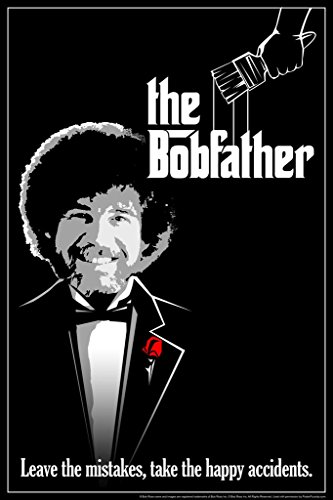 Bob Ross The Bobfather Funny Parody Bob Ross Poster Bob Ross Collection Bob Art Painting Happy Accidents Motivational Poster Funny Bob Ross Afro and Beard Cool Wall Decor Art Print Poster 24x36