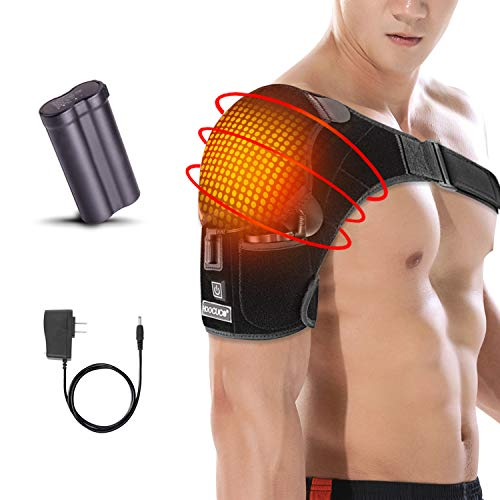 Shoulder Wrap Brace Heating Pad Portable Adjustable Electric 3 Heat Settings Support Hot Therapy Pain Relief Stiff Soreness,Frozen Shoulder, Bursitis, Tendonitis Rotator Cuff AC Joint