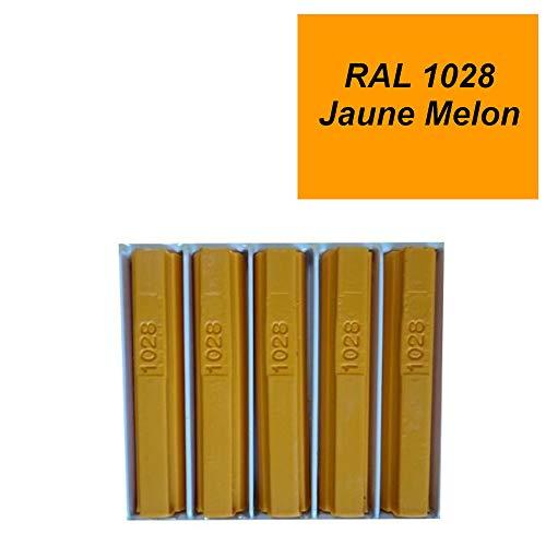 5 Lack-Wachssticks 8 cm gelb Melone RAL 1028