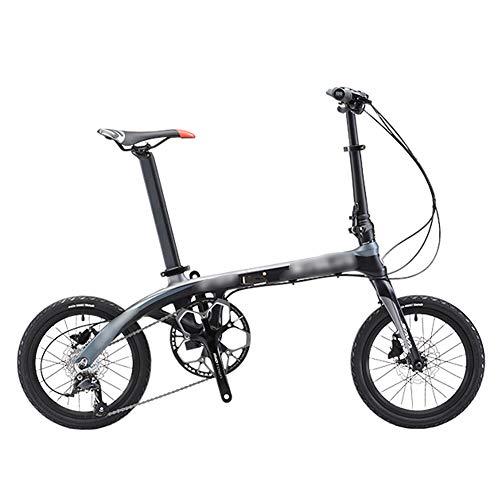 Kiyte Leichte Klappräder für Erwachsene, City Commuter Fahrrad Mit Doppelscheibenbremse -9-Gang für City Cycling Travel Im Freien,Grau,16IN