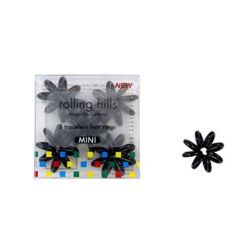 Rolling Hills - 5 mini elásticos sin rastro para el cabello - Anillos en espiral Nano para atar el cabello - No rayar, no disparar - Elásticos impermeables e higiénicos - Color negro