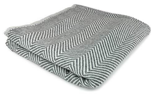 Youni Home Kaschmir Decke 125x230 cm für Couch Sofa Bett 100prozent Cashmere Exklusive Kuscheldecke aus Kashmir auch geeignet als Überwurf Tagesdecke Plaid Made in India (Grau)