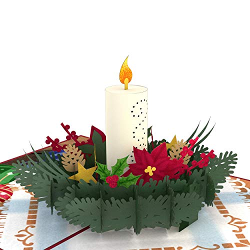Lovepop Christmas Candle Pop Up Card - Christmas Pop Up Card, Holiday Pop Up Card, 3D Christmas Card, Christmas Candle Card, Merry Christmas Card